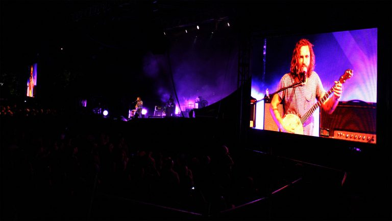 concert led screen Buttler Trio, Riverstage Brisbane